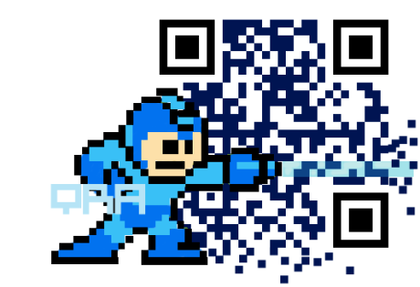 qrarts_megaman_qrcode_donnelly , qrcode, best, creative, designer qr, distorted, adding a logo, modifying, qr art, color, barcode art, mobile